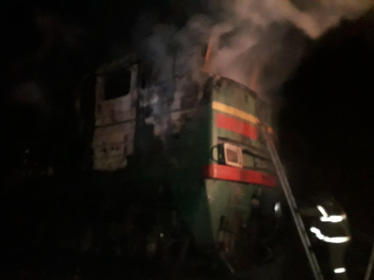 На Донеччины запалав потяг