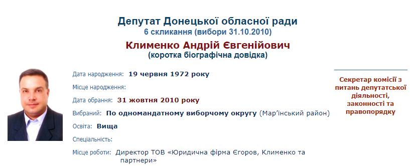 Андрій Клименко депутат Донецької облради