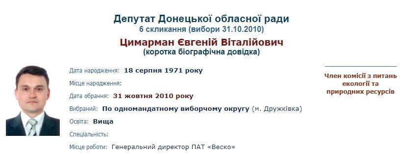 Євгеній Цимерман депутат Донецької облради