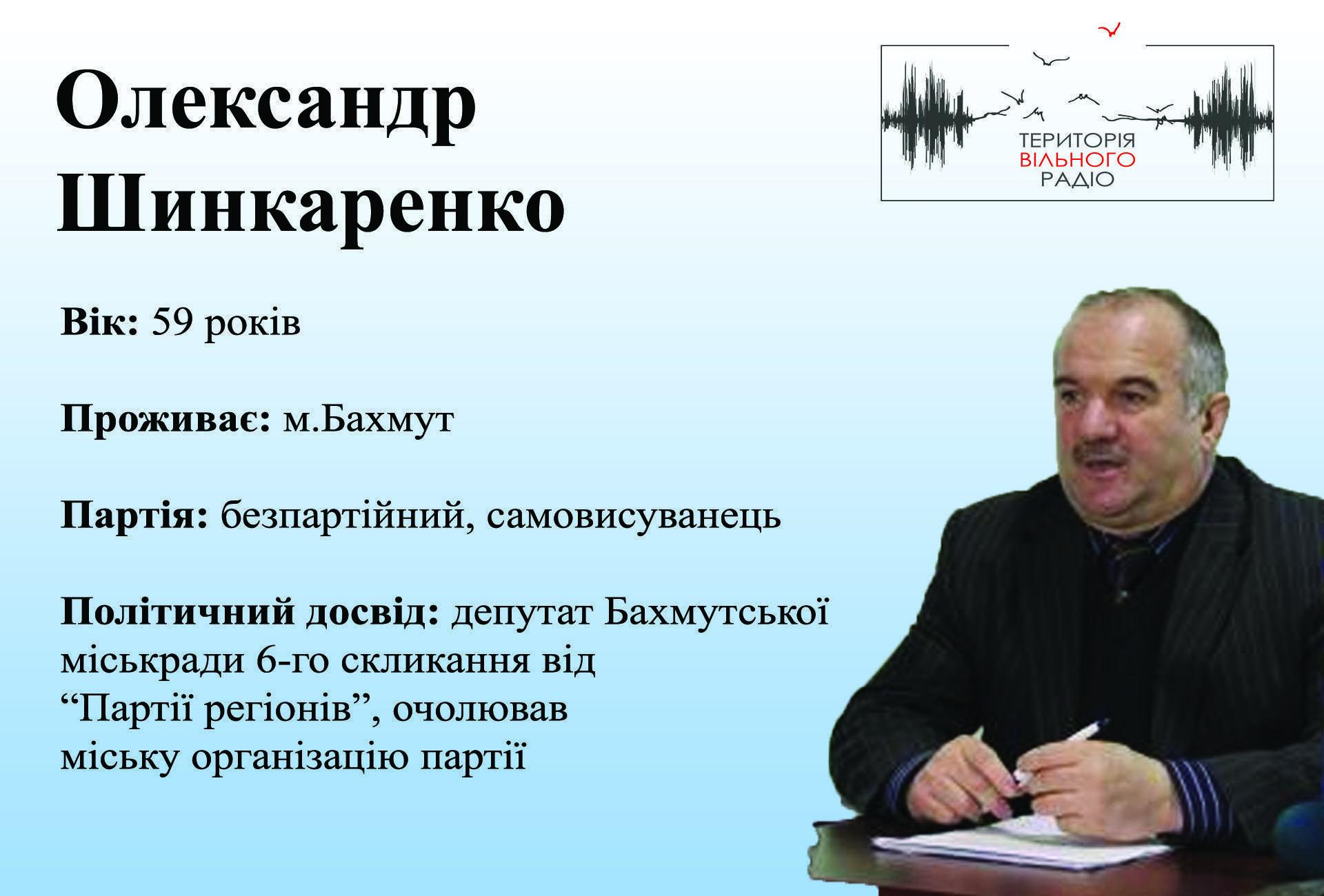 Александр Шинкаренко Бахмут 46 избирательный округ