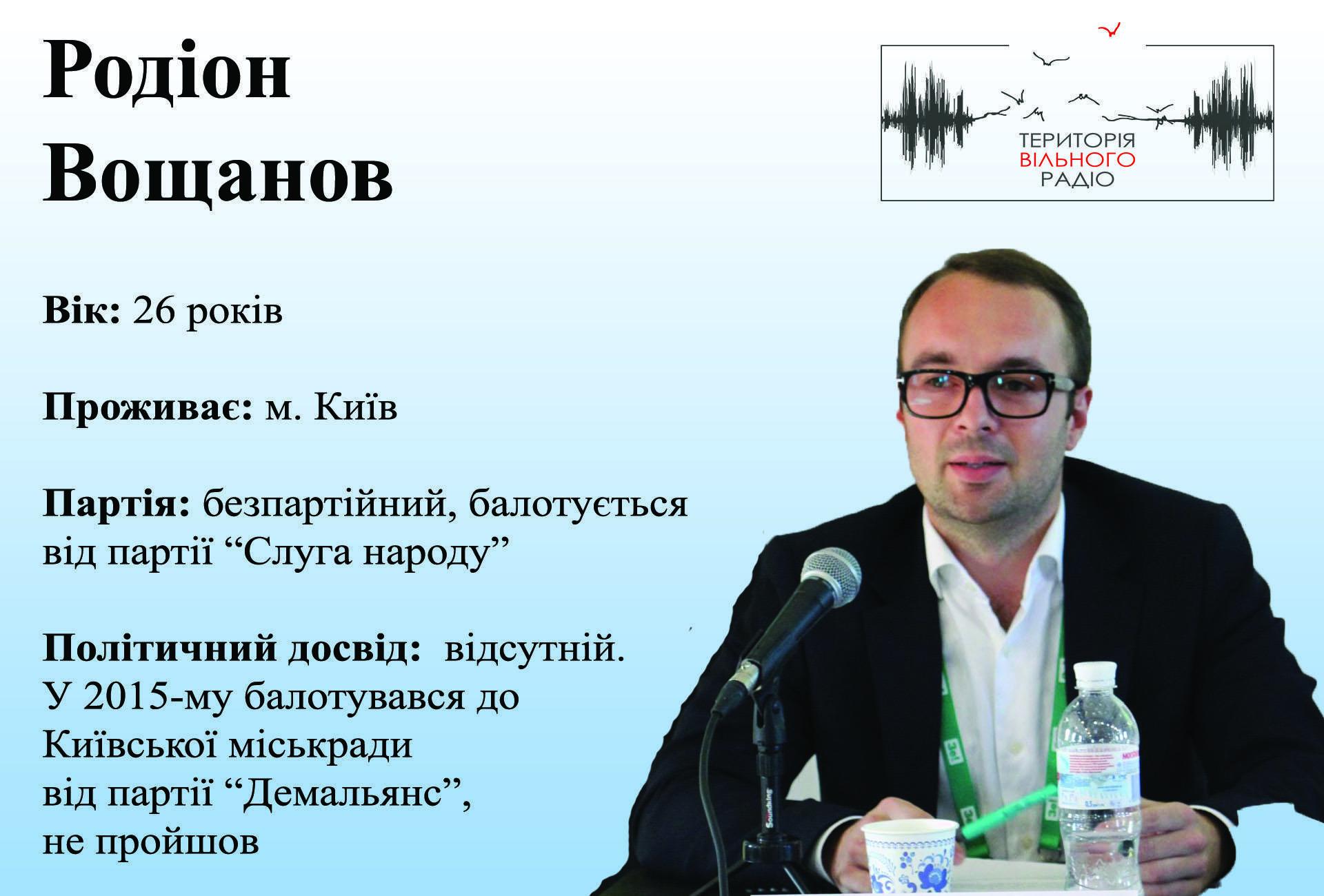 Родіон Вощанов 46 виборчий округ, партія Слуга народу