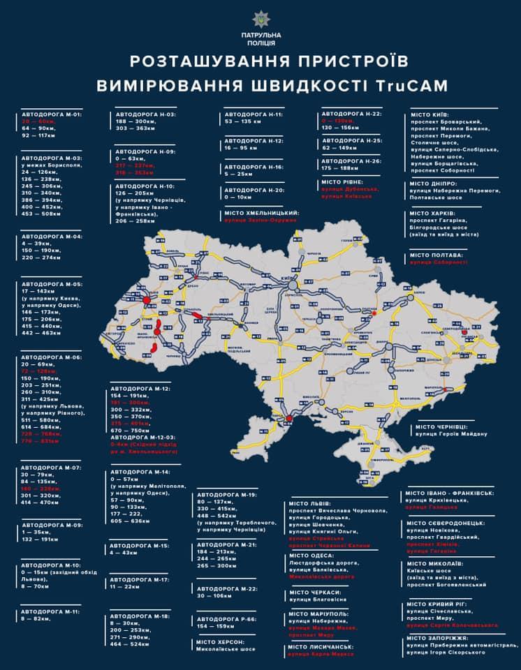 В Україні побільшає радарів TruCAM. Де з'являться 17 нових ділянок відеофіксації? (Таблиця)