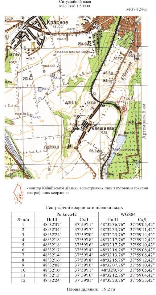 Кліщіївка надра мапа Бахмутська ОТГ