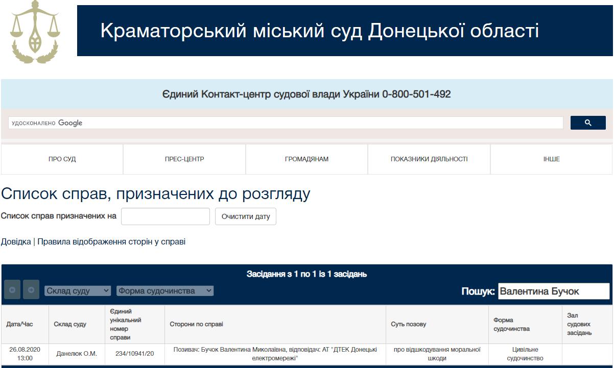 Валентина Бучок позов Краматорський суд