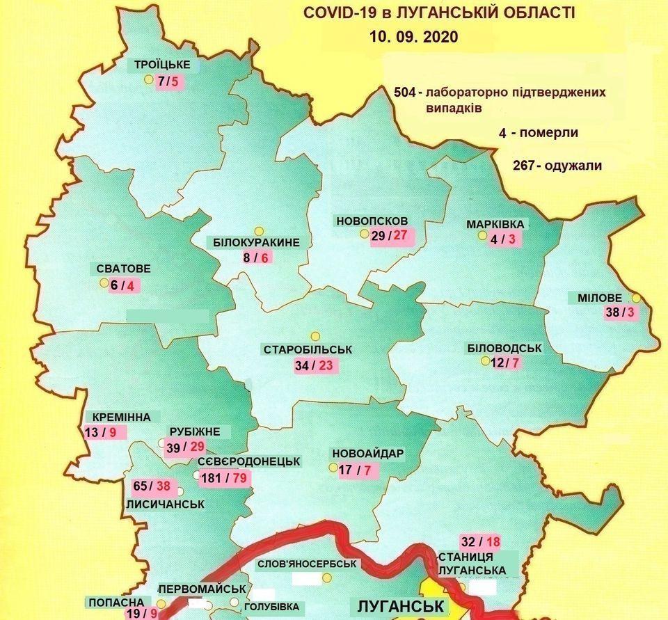 карта Луганской области коронавирус КПВВ Меловое Станица Луганская
