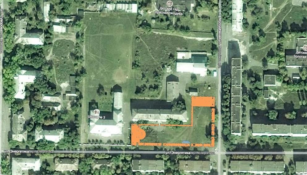Место расположения городского сквера в Северске