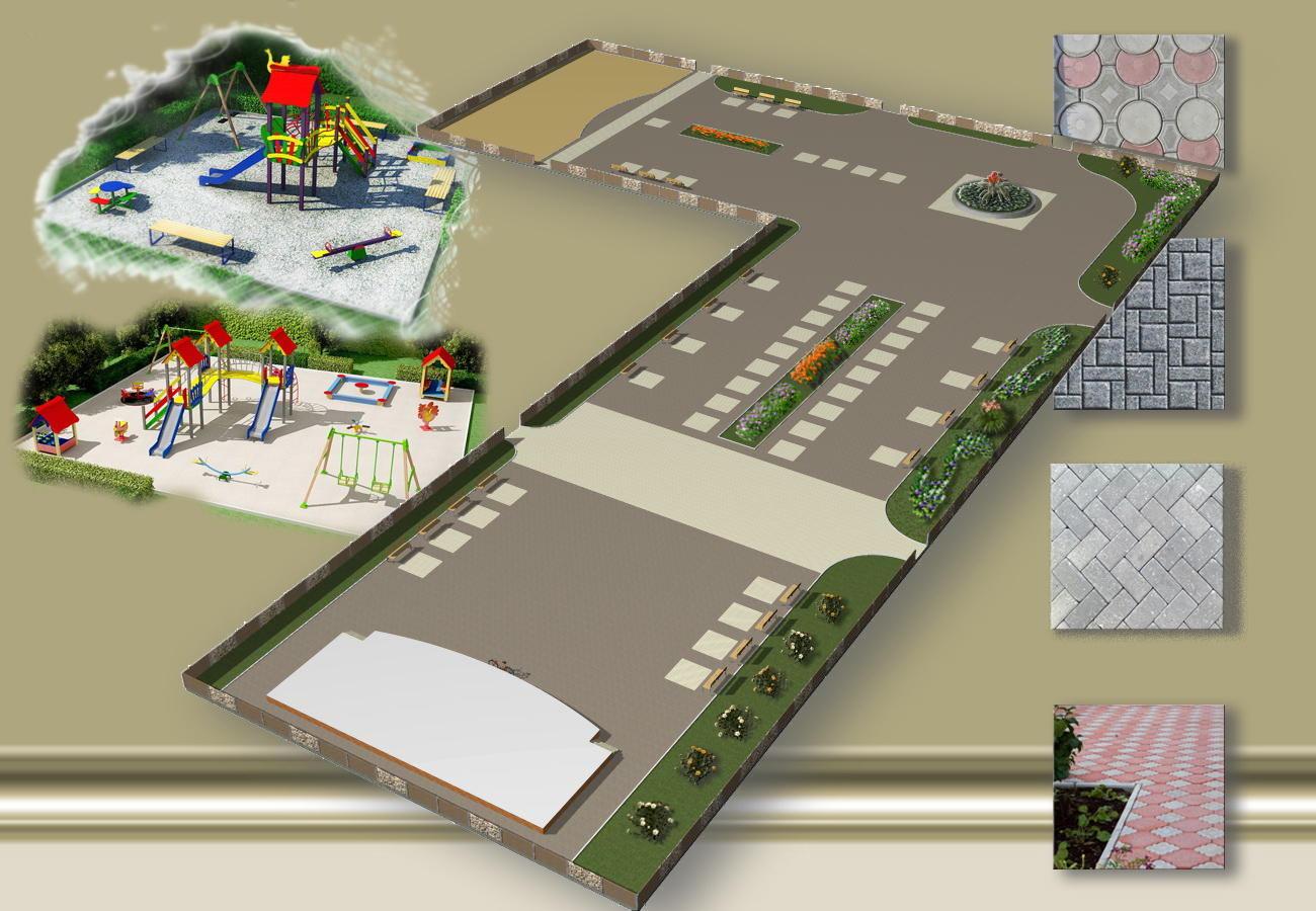 Схема майбутнього скверу у Сіверську з дитячим майданчиком