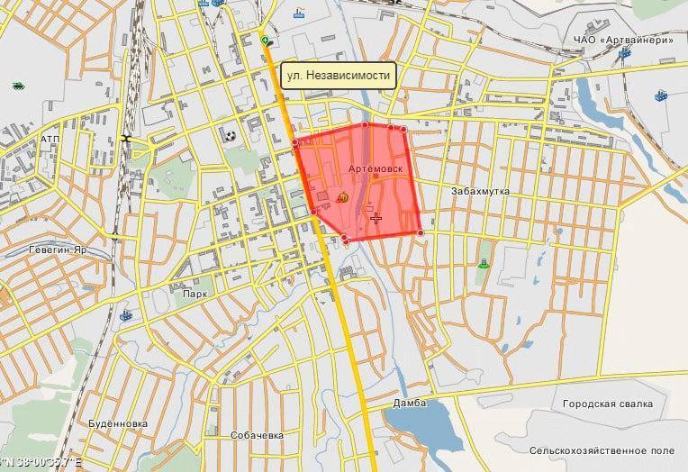 розташування Бахмутської фортеці на мапі сучасного Бахмута