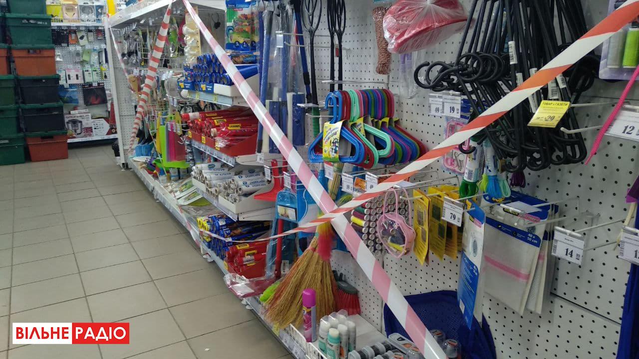 Один из магазинов Бахмута во время зимнего локдауна