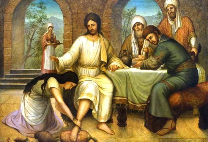 Жінка омиває ноги Ісусові коштовним миром