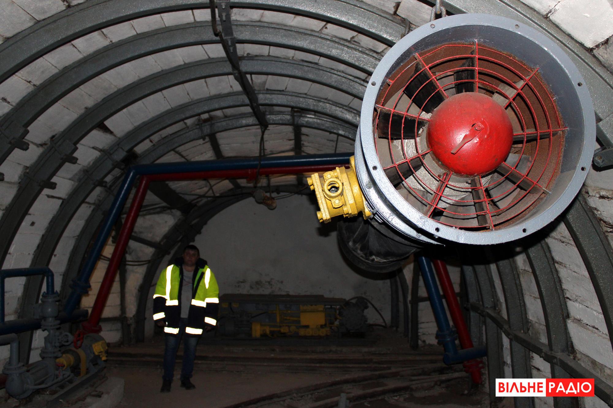 Вентилятор, который проветривает горные выработки. Фото из учебной шахты в Торецке