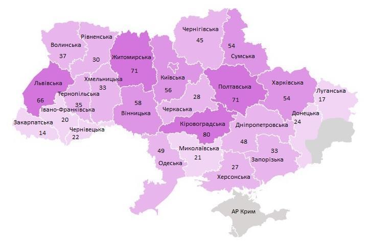 Карта опорных школ в Украине
