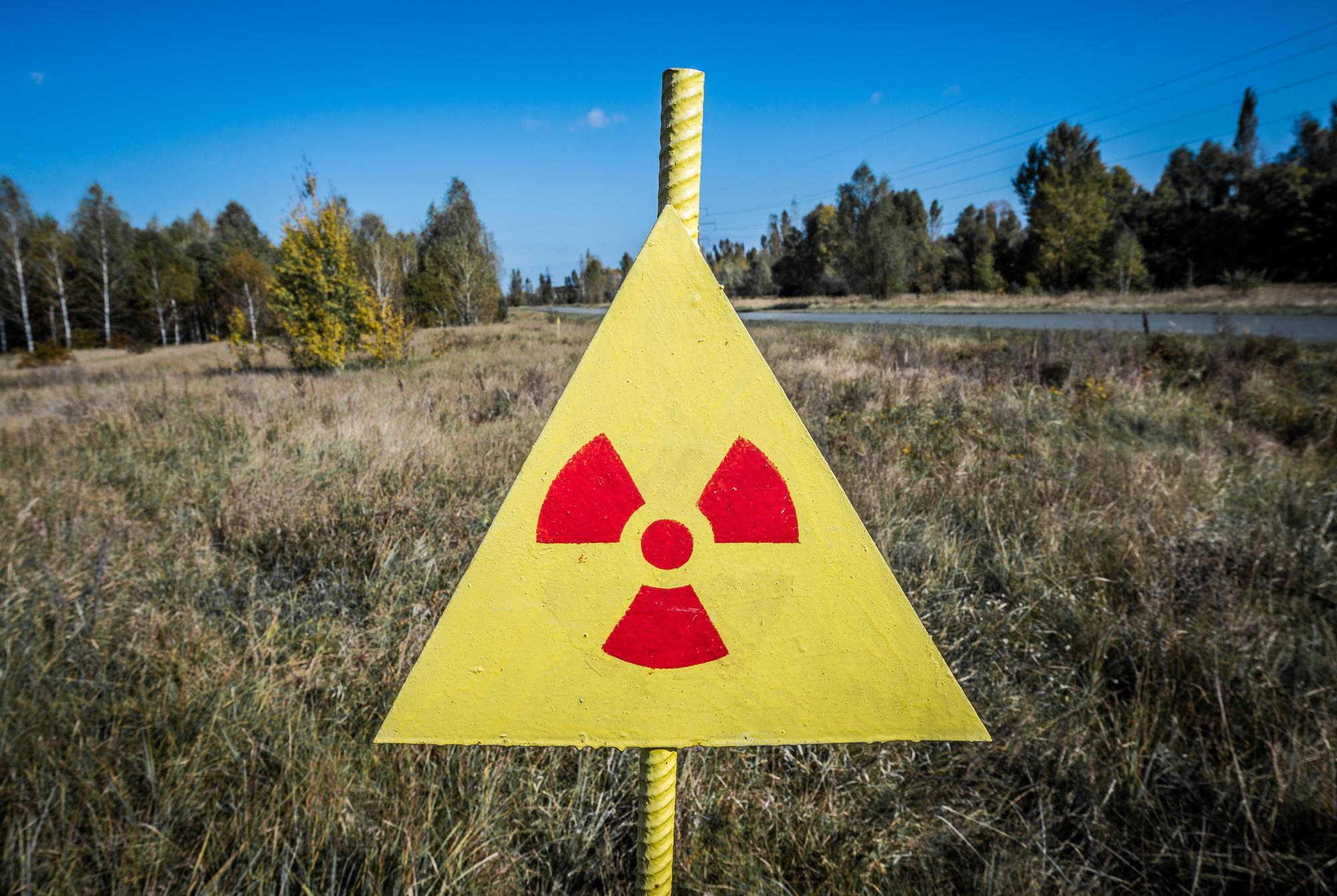 знак радіаційної небезпеки у Чорнобилі