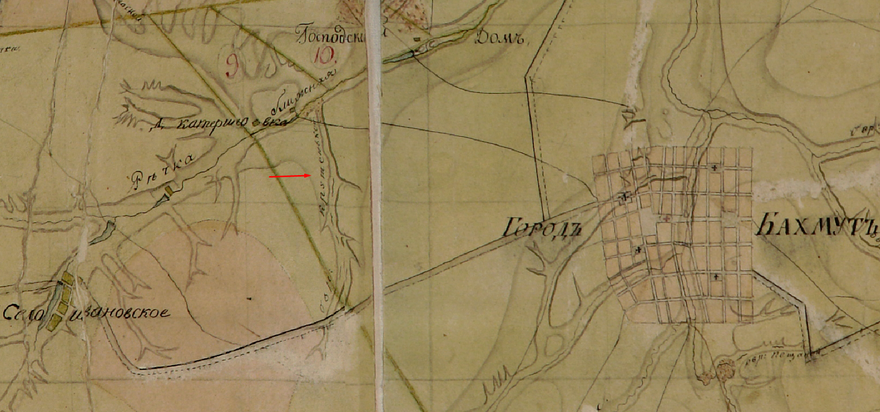 овраг Крутенькой не Вонючка в Бахмуте на старинной карте