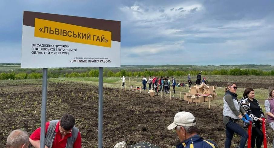 Відновлюють випалену землю: на Луганщині військові та львівські волонтери висадили 10 тис дерев
