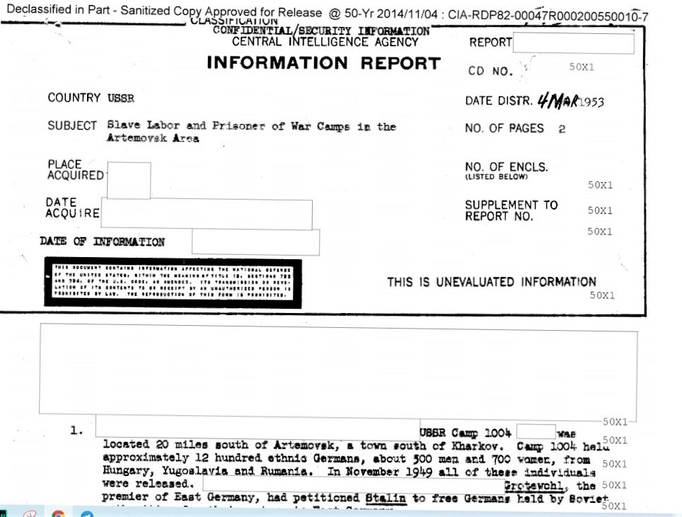 Фрагмент 1-й страницы рассекреченных документов ЦРУ о лагерях принудительного труда в Часов Яре и Артемовске. Скриншот документа