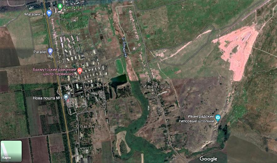 Иванградские штольни на гугл-карте Бахмута
