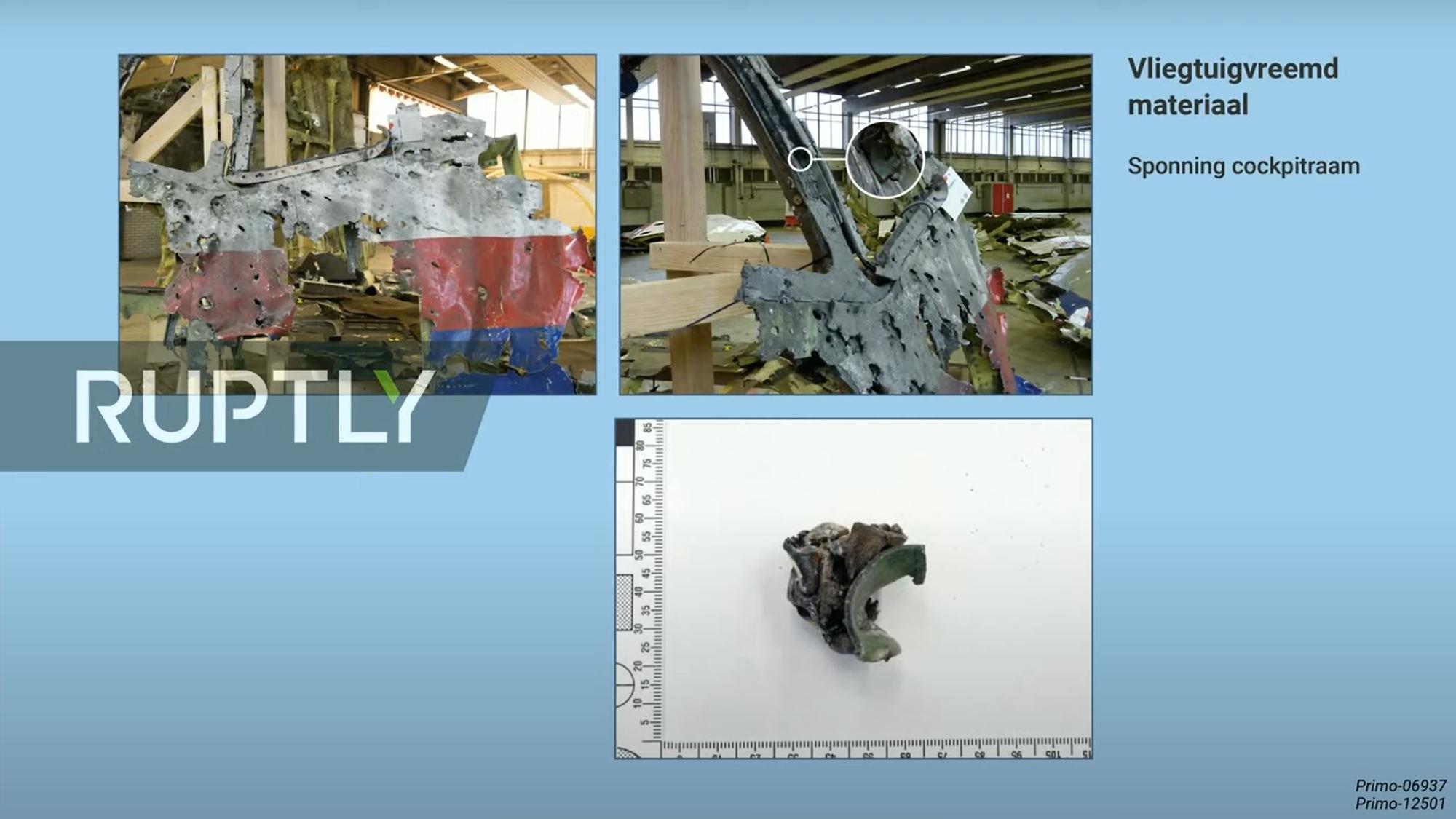 Металлический фрагмент, найденный в корпусе сбитого на Донбассе Боинга МН17