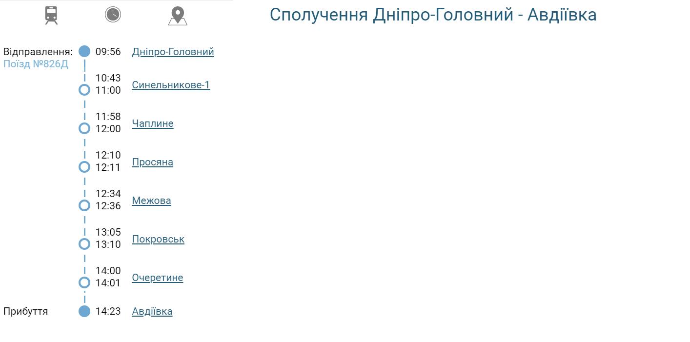 """Розклад руху електрички """"Дніпро - Авдіївка"""""""
