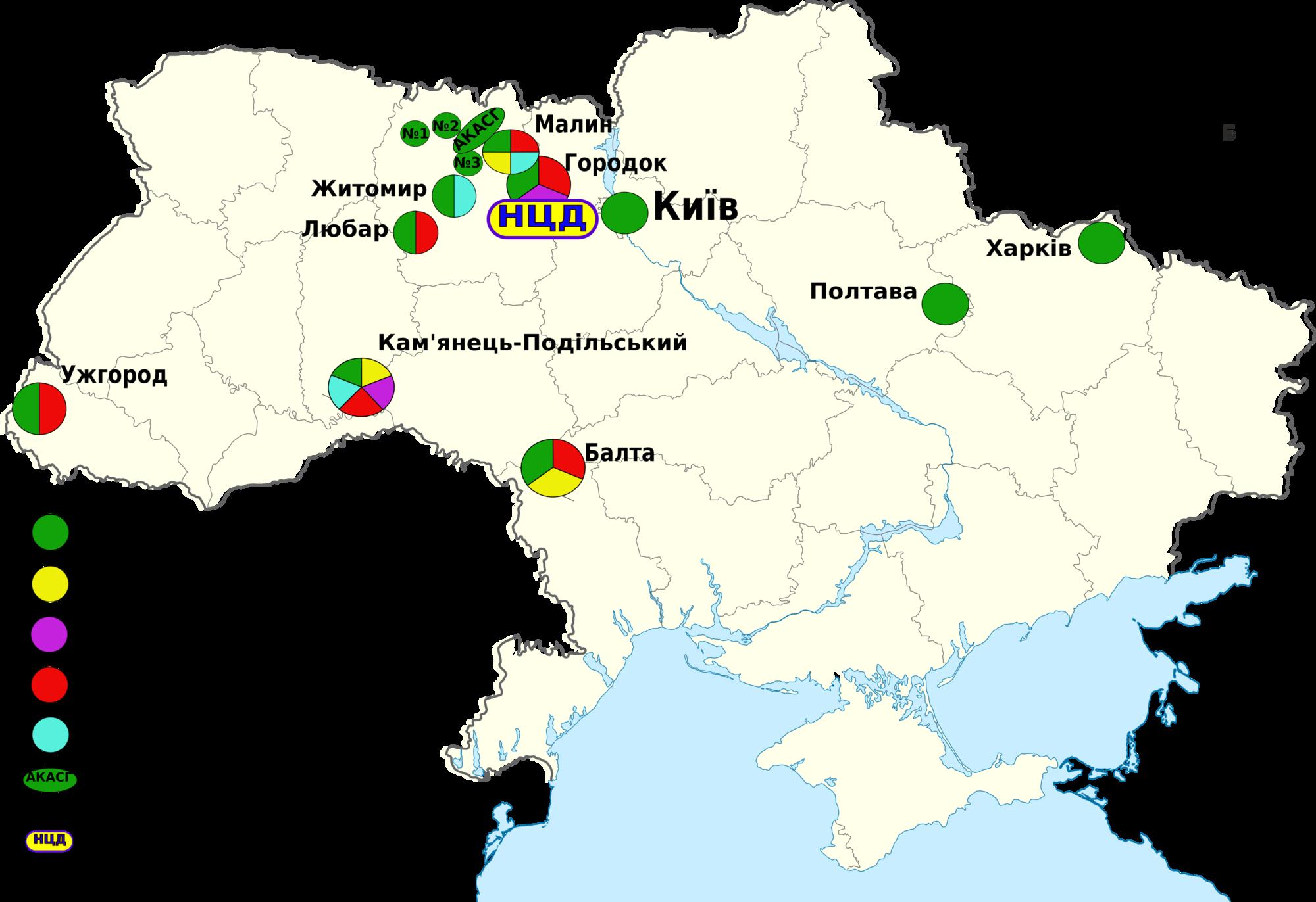 карта пунктов наблюдения ГЦСК